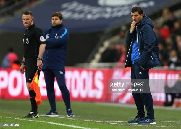 Javi Gracia Manager of Watford looks on during the Premier League match between Tottenham Hotspur and Watford at Wembley Stadium on April 30 2018 in...