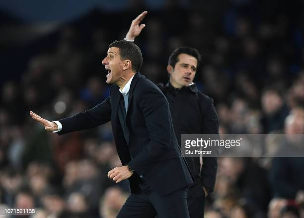 Javi Gracia, Watford manager and Marco Silva, Everton manager react during the Premier League match between Everton FC and Watford FC at Goodison...