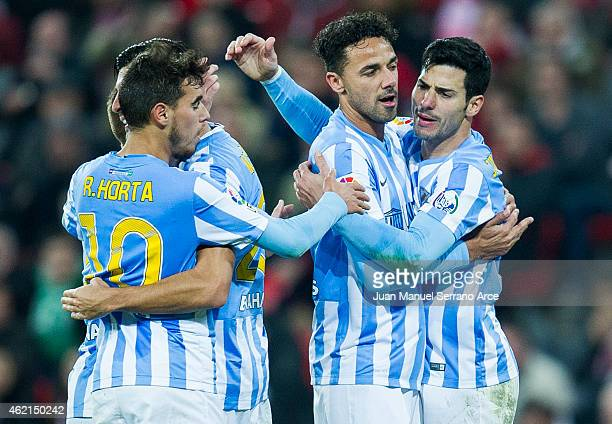 Javi Guerra of Malaga CF celebrates after scoring during the La Liga match between Athletic Club and Malaga CF at San Mames Stadium on January 25...