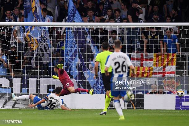 Javi Lopez of Espanyol scores an own goal during the UEFA Europa League group H match between Espanyol Barcelona and Ferencvarosi TC at Power8...