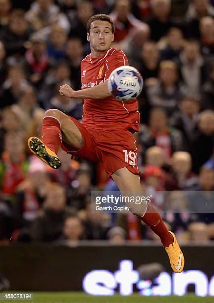 Javi Manquillo of Liverpool during the Capital One Cup Fourth Round match between Liverpool and Swansea City at Anfield on October 28 2014 in...