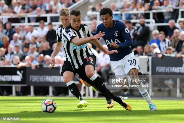Javi Manquillo of Newcastle United and Dele Alli of Tottenham Hotspur during the Premier League match between Newcastle United and Tottenham Hotspur...