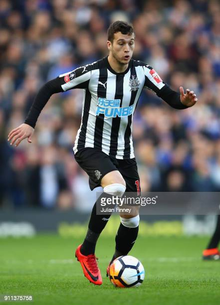 Javi Manquillo of Newcastle United in action during The Emirates FA Cup Fourth Round match between Chelsea and Newcastle on January 28 2018 in London...
