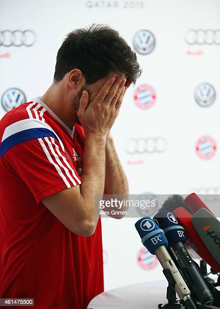 Javi Martinez attends a press conference during day 5 of the Bayern Muenchen training camp at ASPIRE Academy for Sports Excellence on January 13 2015...