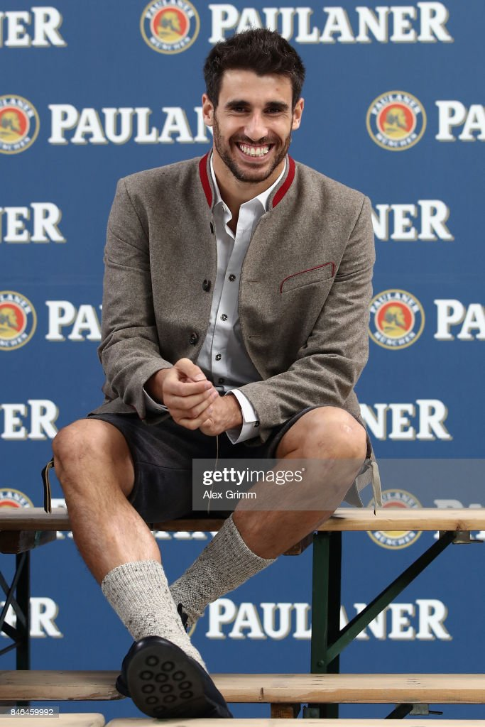 Javi Martinez attends the FC Bayern Muenchen Paulaner photo shoot in traditional Bavarian lederhosen on September 13, 2017 in Munich, Germany.