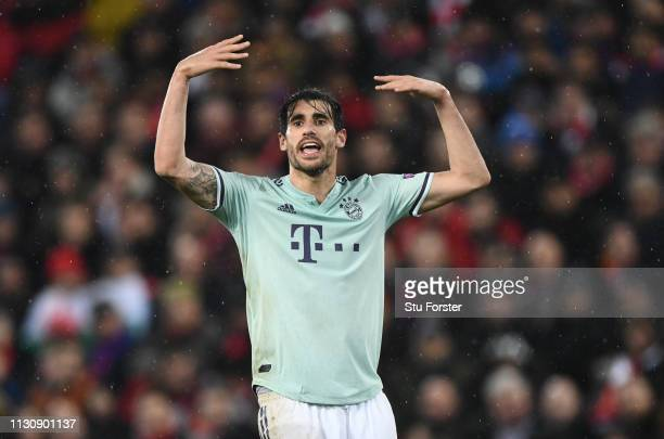 Javi Martinez of Bayern in action during the UEFA Champions League Round of 16 First Leg match between Liverpool and FC Bayern Munich at Anfield on...