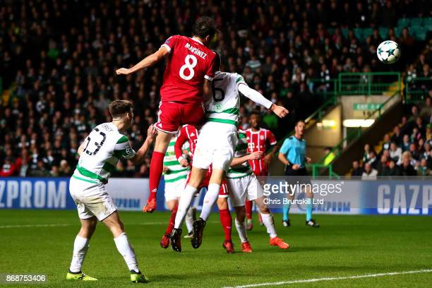 Javi Martinez of Bayern Muenchen scores his side's second goal during the UEFA Champions League group B match between Celtic FC and Bayern Muenchen...