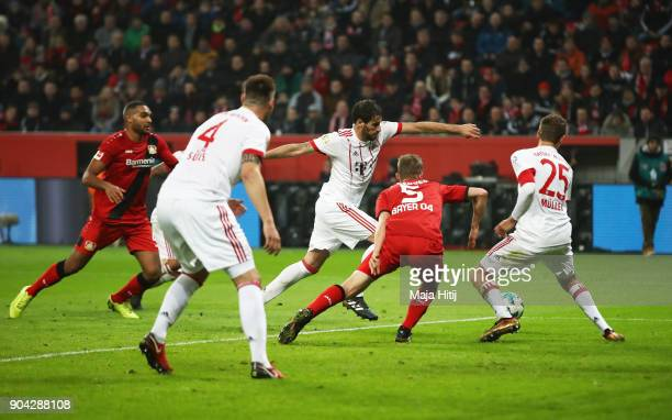 Javi Martinez of Bayern Muenchen scores their first goal during the Bundesliga match between Bayer 04 Leverkusen and FC Bayern Muenchen at BayArena...