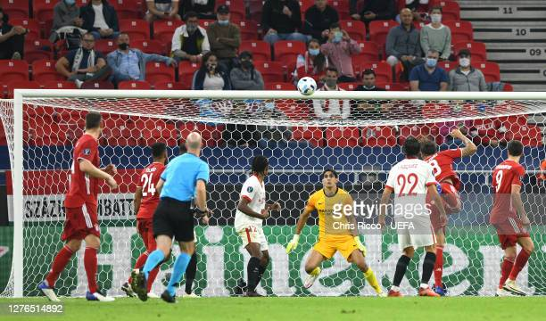 Javi Martinez of Bayern Munich scores his team's second goal during the UEFA Super Cup match between FC Bayern Munich and FC Sevilla at Puskas Arena...