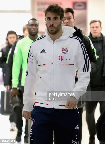 Javi Martinez of FC Bayern Muenchen arrives at the players' tunnel for the Bundesliga match between FC Bayern Muenchen and Werder Bremen at Allianz...