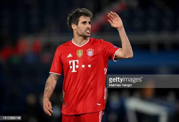 Javi Martinez of FC Bayern Muenchen reacts during the UEFA Champions League Quarter Final Second Leg match between Paris Saint-Germain and FC Bayern...