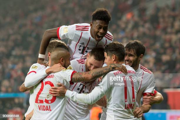 Javi Martinez of Muenchen celebrates after scoring his team`s first goal with team mates during the Bundesliga match between Bayer 04 Leverkusen and...