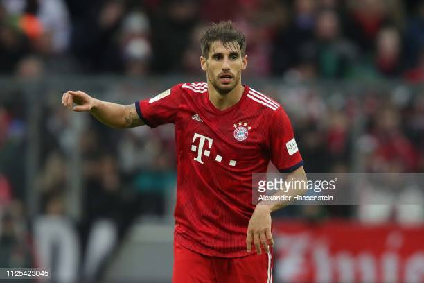 Javi Martinez of Muenchen reacts during the Bundesliga match between FC Bayern Muenchen and VfB Stuttgart at Allianz Arena on January 27 2019 in...