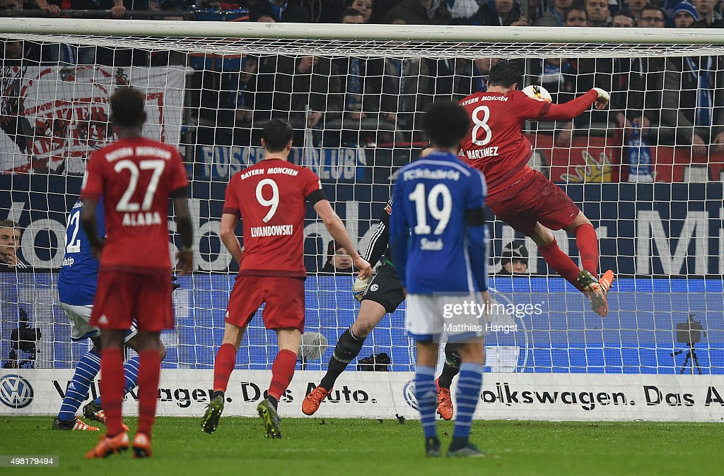Javi Martinez of Muenchen scores his team's second goal during the Bundesliga match between FC Schalke 04 and FC Bayern Muenchen at Veltins-Arena on November 21, 2015 in Gelsenkirchen, Germany.
