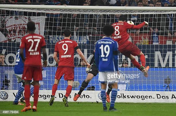 Javi Martinez of Muenchen scores his team's second goal during the Bundesliga match between FC Schalke 04 and FC Bayern Muenchen at VeltinsArena on...