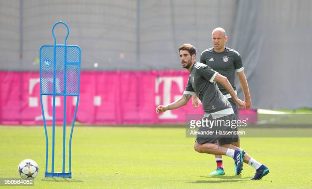 Javi Martínez of Bayern Muenchen in action during a Bayern Muenchen training session ahead of the UEFA Champions League 1st leg semifinal match...