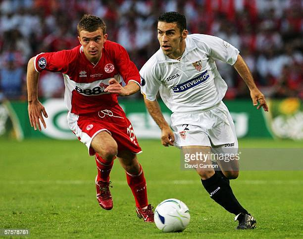 Javi Navarro of Sevilla FC fights for the ball with James Morrison of Middlesbrough FC during the UEFA Cup final between Middlesbrough FC and Sevilla...