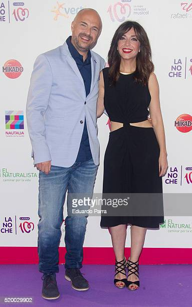 Javi Nieves and Mar Amate attend 'La Noche de Cadena 100' photocall at Barclaycard center on April 9 2016 in Madrid Spain