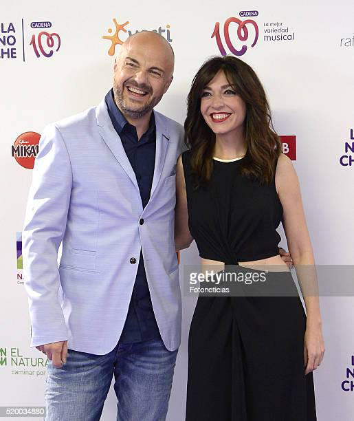 Javi Nieves and Mar Amate attend the 'La Noche de Cadena 100' photocall at the Barclaycard Center on April 9 2016 in Madrid Spain