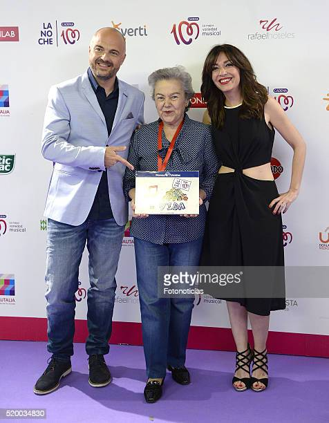 Javi Nieves Soledad Suarez and Mar Amate attend the 'La Noche de Cadena 100' photocall at the Barclaycard Center on April 9 2016 in Madrid Spain