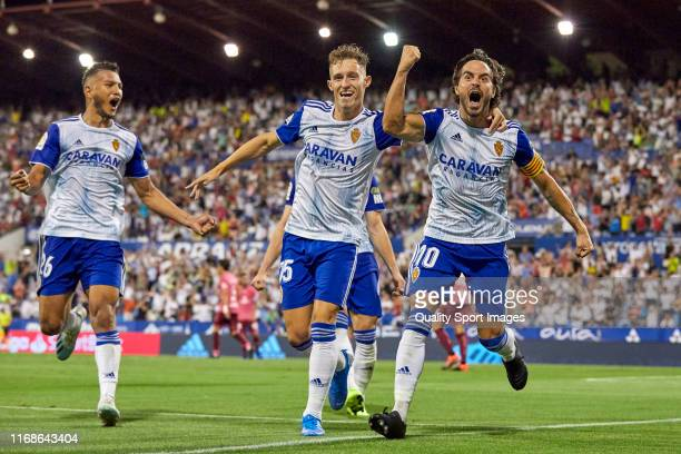 Javi Ros and Alex Blanco of Real Zaragoza celebrating their team's second goal during the La Liga Smartbank match between Zaragoza and Tenerife at on...