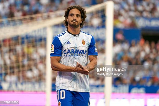 Javi Ros of Real Zaragoza acknowledges the supporters during the La Liga Smartbank match between Real Zaragoza and CD Lugo at Estadio de La Romareda...