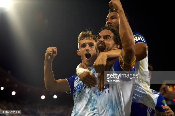 Javi Ros of Real Zaragoza celebrates after scoring his sides first goal during the Liga Smart Bank match between Real Zaragoza and CD Tenerife at...