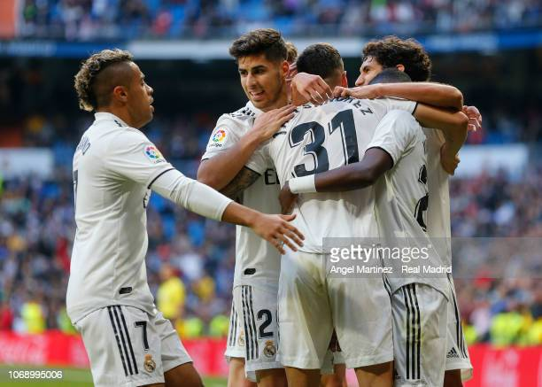 Javi Sanchez of Real Madrid celebrates with team mates after scoring their team's third goal during the Copa del Rey fourth round second leg match...