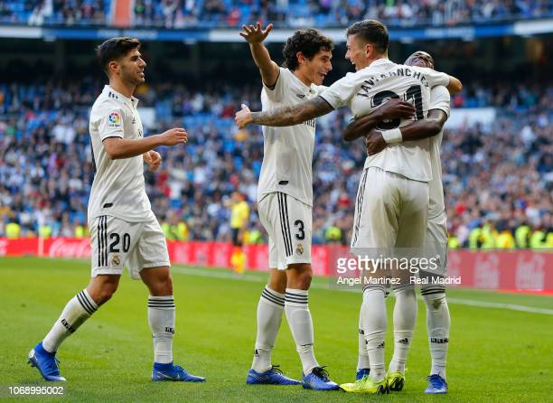 Javi Sanchez of Real Madrid celebrates with Vinicius Jr Jesus Vallejo and Marco Asensio after scoring their team's third goal during the Copa del Rey...
