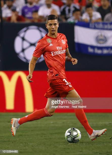 Javi Sanchez of Real Madrid in action during the International Champions Cup 2018 match between Real Madrid and AS Roma at MetLife Stadium on August...