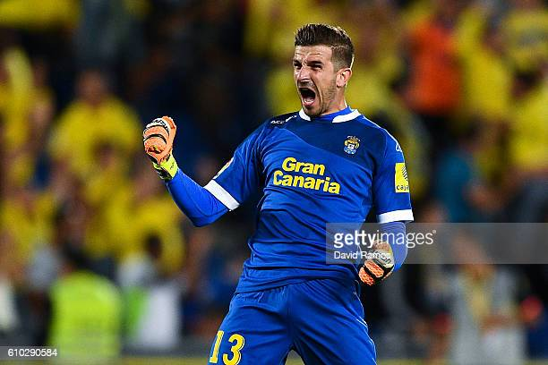 Javi Varas of UD Las Palmas celebrates after his team mate Tana Dominguez of UD Las Palmas scored his team's first goal during the La Liga match...