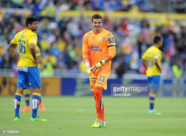 Javi Varas of UD Las Palmas to score looks on during the La Liga match between UD Las Palmas and FC Barcelona at Estadio Gran Canaria on February 20...