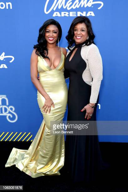 Javicia Leslie and guest attend the 2018 Soul Train Awards presented by BET at the Orleans Arena on November 17 2018 in Las Vegas Nevada