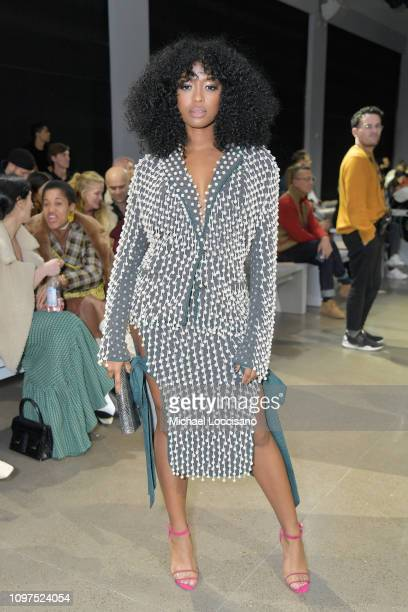 Javicia Leslie attends the Ryan Roche front row during New York Fashion Week The Shows at Gallery II at Spring Studios on February 10 2019 in New...