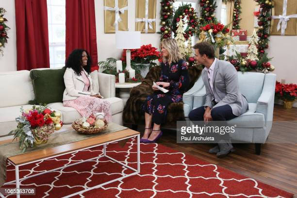Javicia Leslie Debbie Matenopoulos and Cameron Mathison on the set of Hallmark's Home Familyat Universal Studios Hollywood on October 29 2018 in...