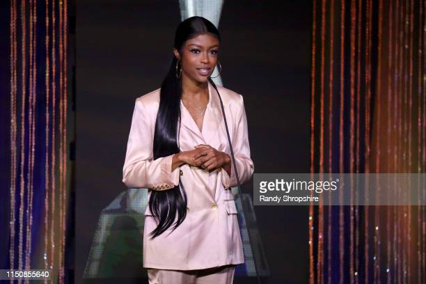 Javicia Leslie speaks onstage at the 44th Annual Gracies Awards hosted by The Alliance for Women in Media Foundation on May 21 2019 at the Four...