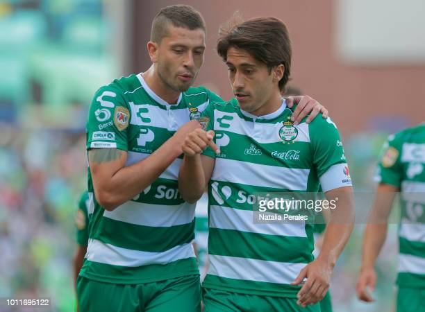 Javier Abella and Martin Nervo of Santos talk during the third round match between Santos Laguna and Puebla as part of the Torneo Apertura 2018 Liga...