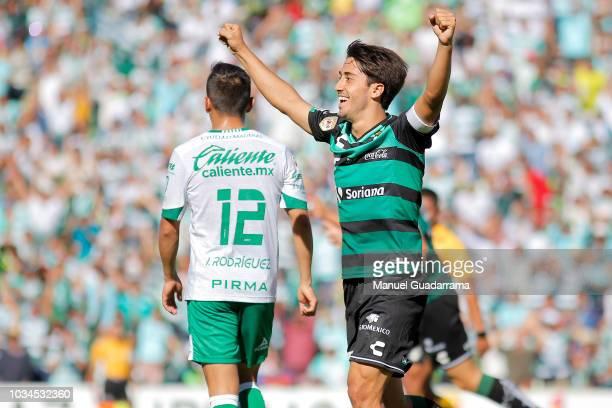 Javier Abella of Santos celebrates during the 9th round match between Santos Laguna and Leon as part of the Torneo Apertura 2018 Liga MX at Corona...