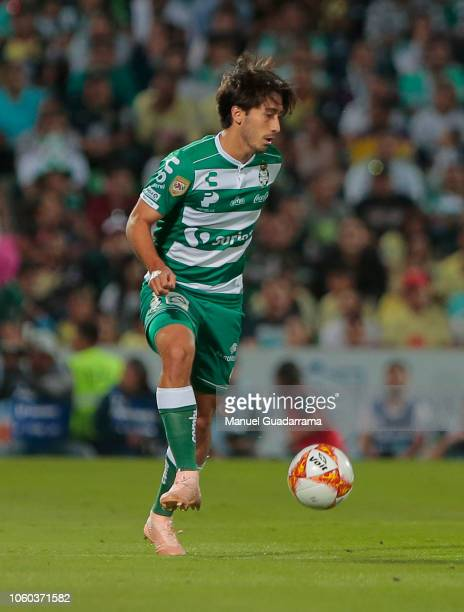 Javier Abella of Santos controls the ball duing a 16th round match between Santos Laguna and America Club as part of Torneo Apertura 2018 Liga MX at...
