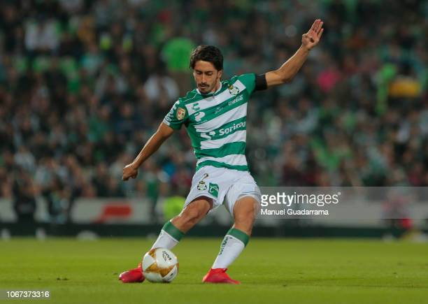 Javier Abella of Santos controls the ball during the quarter finals second leg match between Santos Laguna and Monterrey as part of the Torneo...