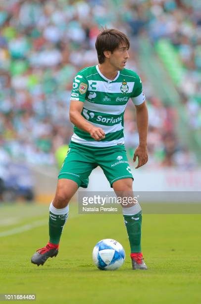 Javier Abella of Santos controls the ball during the third round match between Santos Laguna and Puebla as part of the Torneo Apertura 2018 Liga MX...
