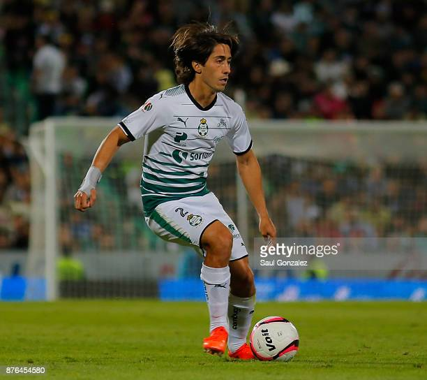 Javier Abella of Santos drives the ball during the 17th round match between Santos Laguna and America as part of the Torneo Apertura 2017 Liga at...