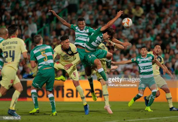 Javier Abella of Santos fights for the ball during a 16th round match between Santos Laguna and America Club as part of Torneo Apertura 2018 Liga MX...