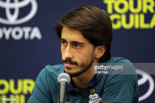 Javier Abella of Santos speaks during the Santos Laguna press conference ahead Aguila Tour match at Cotton Bowl on June 29 2018 in Dallas Texas