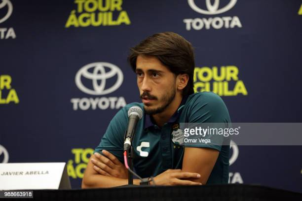 Javier Abella speaks during Club Santos press conference ahead of Aguila Tour match at Cotton Bowl on June 29 2018 in Dallas Texas