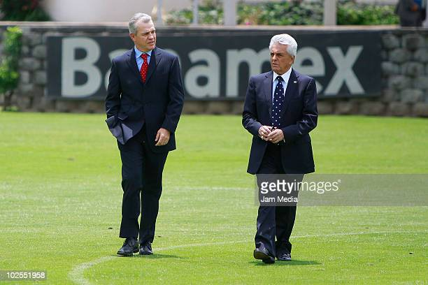 Javier Aguirre and Justino Compean arrive for a press conference to announce that Aguirre will step down from his job at the High Performance Center...