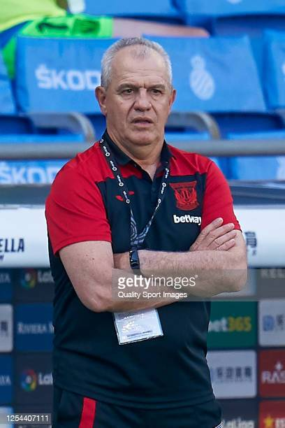 Javier Aguirre head coach of CD Leganes looks on during the Liga match between RCD Espanyol and CD Leganes at RCDE Stadium on July 05 2020 in...