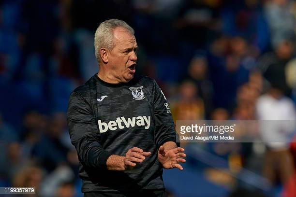 Javier Aguirre head coach of CD Leganes reacts during the Liga match between Levante UD and CD Leganes at Ciutat de Valencia on February 8, 2020 in...