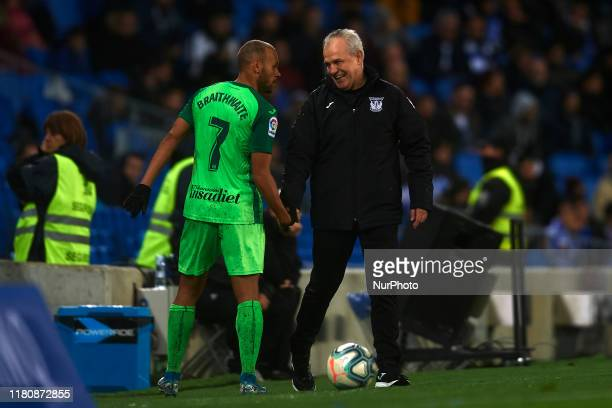 Javier Aguirre head coach of Leganes and Martin Braithwaite during the Liga match between Real Sociedad and CD Leganes at Estadio Anoeta on November...