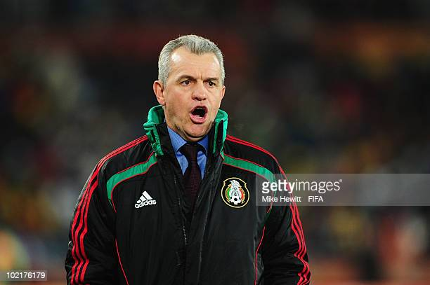 Javier Aguirre head coach of Mexico issues instructions from the sideline during the 2010 FIFA World Cup South Africa Group A match between France...